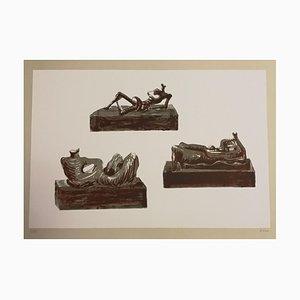 Three Lehnende Figuren - Original Lithographie von Henry Moore - 1976 1976