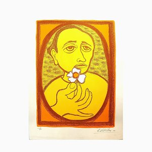 Man with flower - Original Lithograph by Giuseppe Viviani - 1964 1964