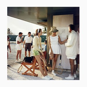 Tennis in the Bahamas Oversize C Print Framed in White by Slim Aarons