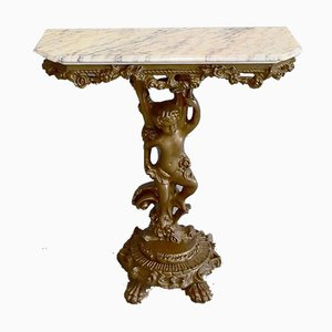 Small Antique Carved Console Table