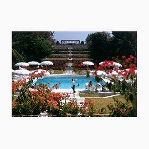 Ocean Club Oversize C Print Framed in White by Slim Aarons