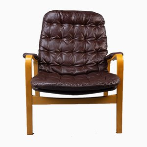 Leather & Bentwood Armchair by Bruno Mathsson for Dux, 1970s