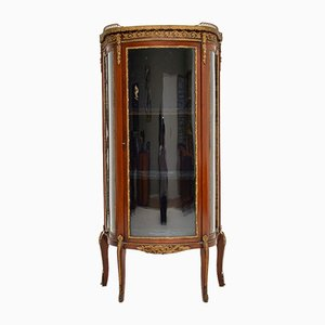 Antique French Mahogany & Marble Display Cabinet
