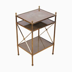Brass and Eglomise Glass Three-Tier Side Table