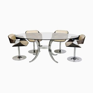 Mid-Century Luna Tulip Dining Table & Chairs Set by Roche Bobois, Set of 5