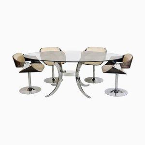 Mid-Century Luna Tulip Esstisch & Stühle Set von Roche Bobois, 5er Set