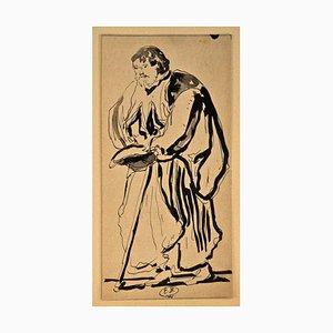 Philosopher - Original China Tintenzeichnung von E. Berman - ca. 1940 Ca. 1940