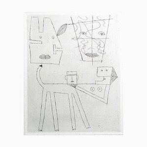 Women and Dog - Original Etching by Victor Brauner 1960s
