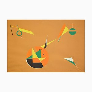 Composition Abstraite - Original Tempera on Paper par Stefano Spagnoli - 1968 1968