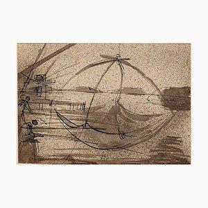 The Fishing - Original China Ink Drawing by E. Berman - 1938 1938