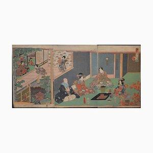 Tea Ceremony - Original Woodcut Triptych by Utagawa Kunisada - Late 19th Century Late 19th Century