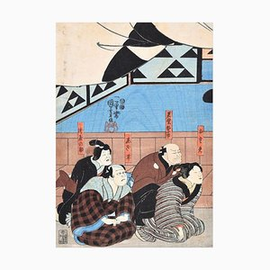 The Kamakura Period Warrior Aoto Fujitsuna - Woodcut by U. Kuniyoshi - 1845/54 1849