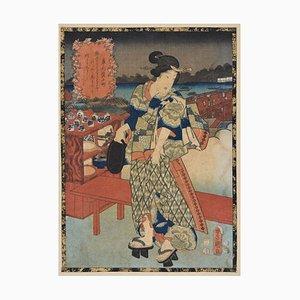 Sotoba Komachi - Original Woodcut by Utagawa Kunisada - 1840s 1860 ca.