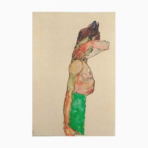 Mädchen mit grünem Rock - Original Lithographie nach E. Schiele 1990