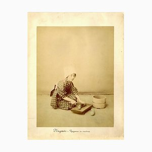 Japanese Woman Cooking by Shin E Do - Hand-Colored Albumen Print 1870/1890 1870/1890