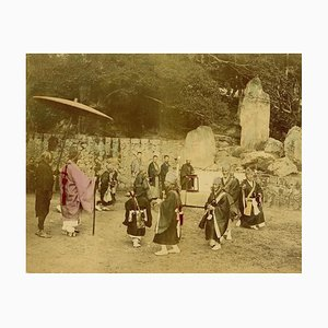 Religiöse Zeremonie in Kyoto - Handbemalter Albumen Druck 1870/1890 1870/1890