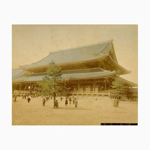View of Honganji Temple in Kyoto - Ancient Hand-Colored Albumen Print 1870/1890 1870/1890