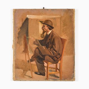The Painter - Original Oil on Canvas attr. to V. Cabianca - Late 19th Century Late 19th Century