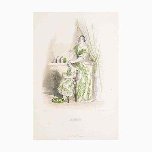 Jasmin - Les Fleurs Animées Vol.II - Lithographie von JJ Grandville - 1847 1847