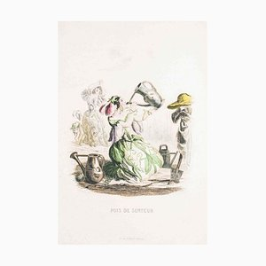Pois de Senteur - Les Fleurs Animées Vol. - Lithograph by J.J. Grandville - 1847 1847
