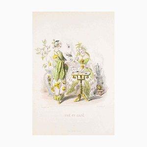 Thé et Café - Les Fleurs Animées Vol.II - Litho von JJ Grandville - 1847 1847