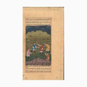 Miniature Antique Perse: Hommes avec Cimeterre - Probablement 18 / 19ème Siècle 18 / 19ème Siècle
