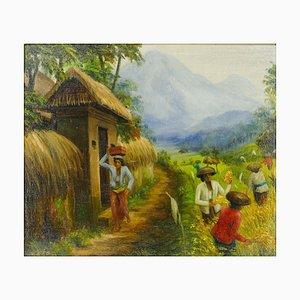 Rice Weeders at Work - Original Oil on Canvas Bali School - Mid 20th Century Mid 20th Century