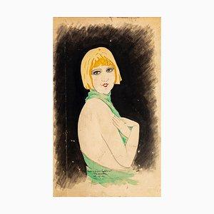 Portrait de Femme - Dessin Original à l'Encre et à l'Aquarelle par Paul Bonet - 1930 1930