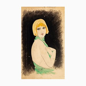 Portrait of Woman - Original Ink and Watercolor Drawing by Paul Bonet - 1930 1930