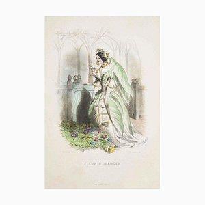 Fleur d'Oranger - Les Fleurs Animées Vol.I - Litho by J.J. Grandville - 1847 1847