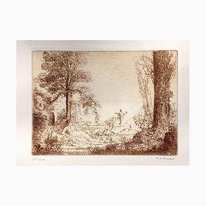 Nymphe Assise Accoudé au Pied d'un Arbre - Etching by K.-X. Roussel - 1900 ca. 1900 ca.