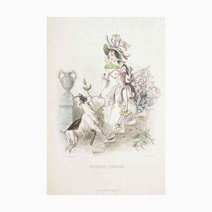 Chèvrefeuille - Les Fleurs Animées Vol.I - Lithograph by J.J. Grandville - 1847 1847