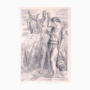 Lovers - Original Charcoal Zeichnung von A. Leroux - 1927 1927