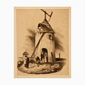 Le Moulin du Télégraphe (Nouvelles d'Espagne) - Lithograph by H. Daumier - 1830s 1830s