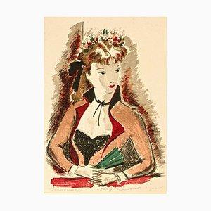 Portrait of Woman - Original Lithographie von A. Dignimont - 1950er 1950er