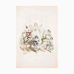 Bal - Les Fleurs Animées Vol.II - Lithographie von JJ Grandville - 1847 1847
