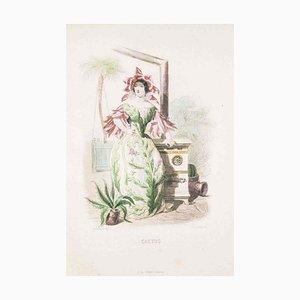 Cactus - Les Fleurs Animées Vol.II - Lithographie von JJ Grandville - 1847 1847