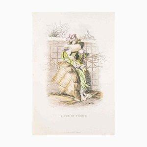 Fleur de Pecher - Les Fleurs Animées Vol. - Lithograph by J.J. Grandville - 1847 1847