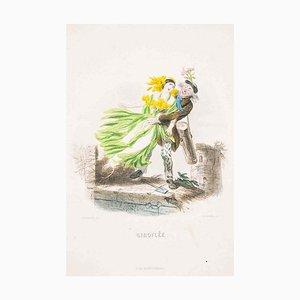 Giroflée - Les Fleurs Animées Vol.II - Lithograph by J.J. Grandville - 1847 1847