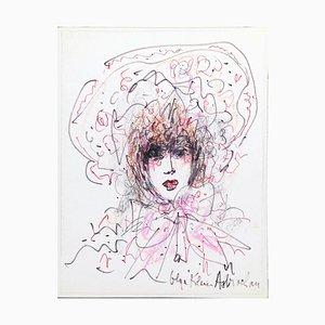 Portrait Of Lady With Hat - Pastellfarben und Filz auf Papier - 1970er 1970er Jahre
