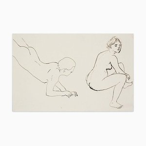 Erotic Look - Original China Ink Drawing by M. Vertès - 1930s 1930s