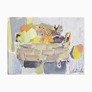 Still Life - Pintura acrílica sobre papel Canson de C. Dechezelle - años 70