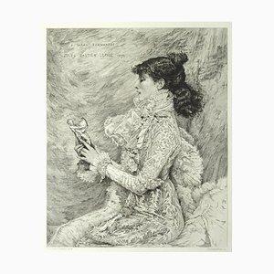 Portrait de M.lle Sarah Bernhardt - Original Radierung von EA Champollion - 1879 1879