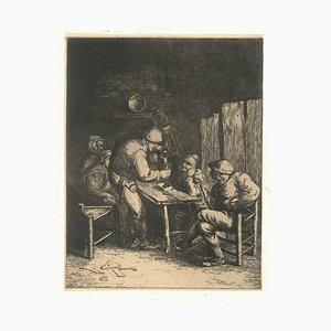 Scène de Bistrot - Unknow Artist After Adrian Van Ostade - 18th Century 18th Century