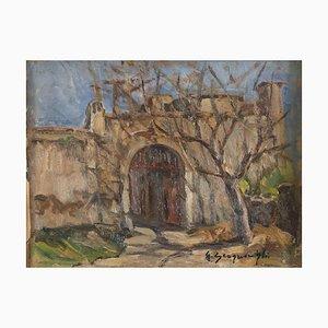 Castle Doorway - Oil on Cardboard by G. Scognamiglio - 1950s 1950s