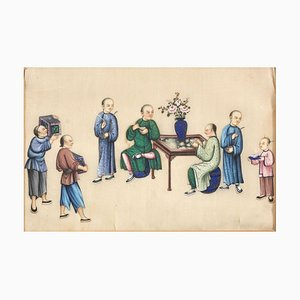 Writers with Waiters - Pair of Mixed Media on Paper by Chinese Master Early 1900 Early 1900
