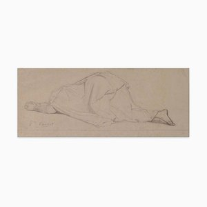 Praying Woman - Original Pencil Drawing by P.N. Brisset - Late 1800 Late 19th Century