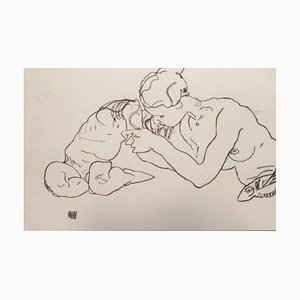 Zwei sich küssende Mädchen -1990s - Lithograph - Modern 1990