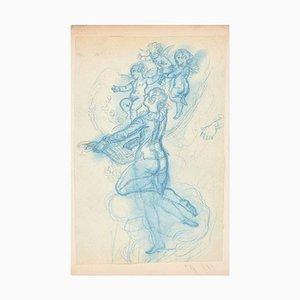 Study with three Angels - Original Zeichnung von A. Willette - Ende des 19. Jahrhunderts Ende des 1. Jahrhunderts