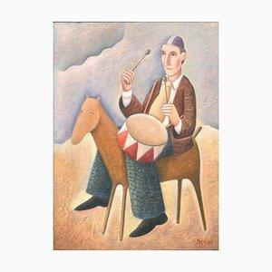 Tamburino a Cavallo - Original Öl auf Holzplatte von C. Benghi - 2000er